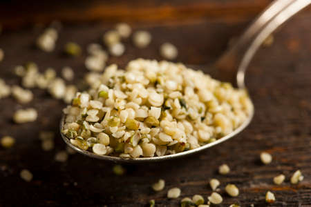 Healthy Organic Hulled Hemp Seeds in a Bowl Stok Fotoğraf