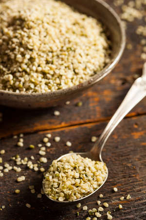 Healthy Organic Hulled Hemp Seeds in a Bowl Stock Photo