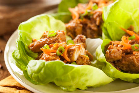 Healthy Asian Chicken Lettuce Wrap with Carrots Banco de Imagens - 27076940
