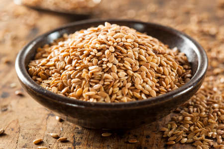 flaxseed: Organic Raw Flax Seeds in a Bowl