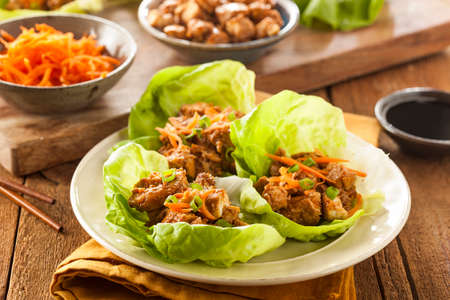 cabbage: Healthy Asian Chicken Lettuce Wrap with Carrots