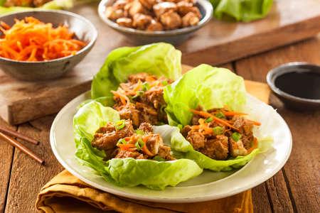 carne de pollo: Saludable asi�tica de pollo Lechuga Wrap con zanahorias Foto de archivo