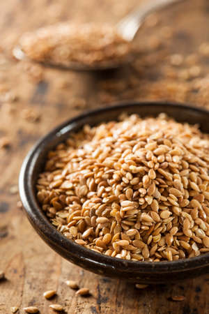 Organic Raw Flax Seeds in a Bowl