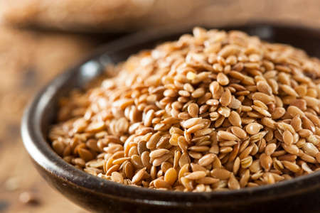 flax seed oil: Organic Raw Flax Seeds in a Bowl