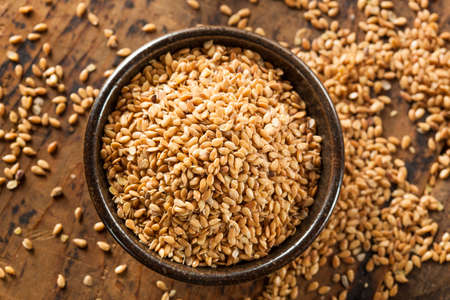 Organic Raw Flax Seeds in a Bowl photo