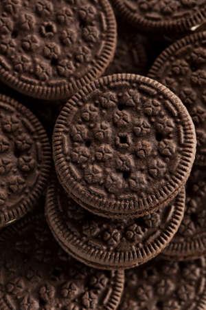 Unhealthy Chocolate Cookies with Vanilla Cream Filling 版權商用圖片