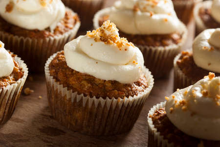 vanilla cupcake: Homemade Carrot Cupcakes with Cream Cheese Frosting for Easter