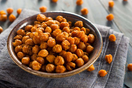 Healthy Roasted Seasoned Chick Peas with Different Spices Reklamní fotografie