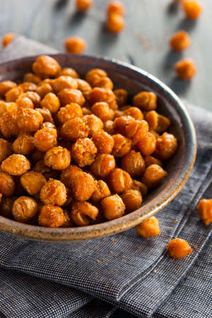 seasoned: Healthy Roasted Seasoned Chick Peas with Different Spices Stock Photo