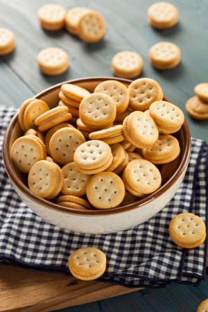 Healthy Peanut Butter Sandwich Crackers in a Bowl