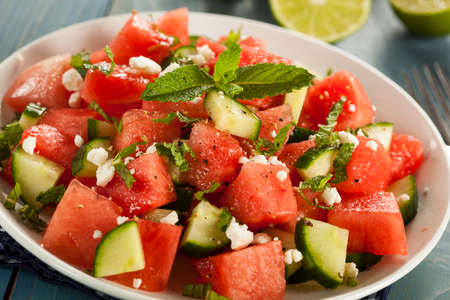 cucumbers: Healthy Organic Watermelon Salad with Mint, Feta, and Cucumber