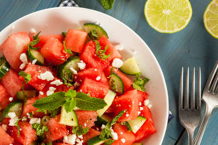 Healthy Organic Watermelon Salad with Mint, Feta, and Cucumber photo