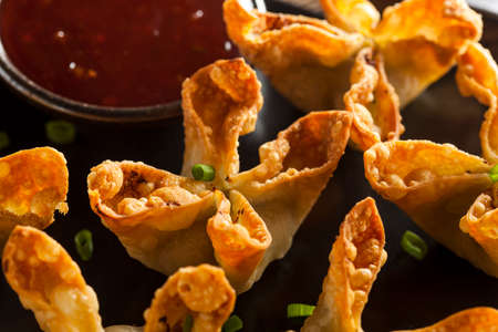 crab meat: Homemade Asian Crab Rangoons with Sweet and Sour Sauce