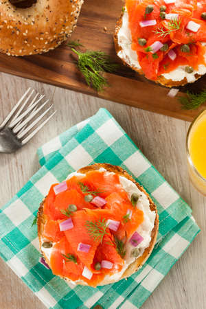 kosher: Homemade Bagel and Lox with Cream Cheese, Capes, and Dill