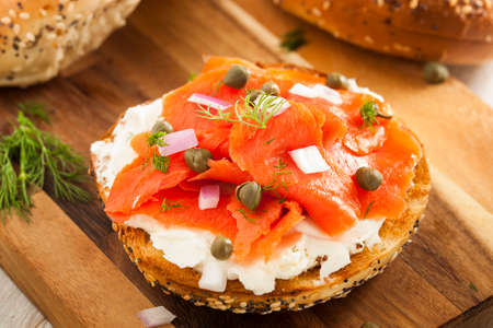 capes: Homemade Bagel and Lox with Cream Cheese, Capes, and Dill