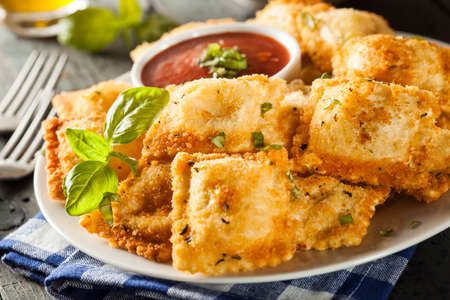 marinara: Homemade Fried Ravioli with Marinara Sauce and Basil