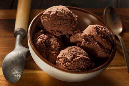 chocolate ice cream: Maison fonc� Glace au chocolat dans un bol