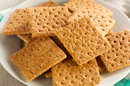 crackers: Healthy Honey Graham Crackers on a Plate