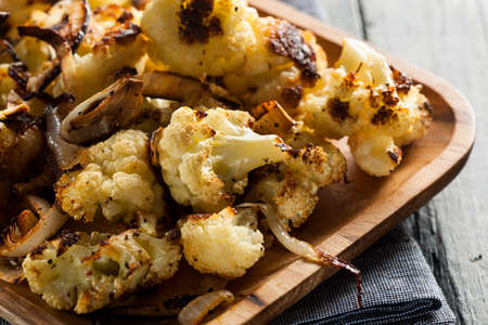 Roasted White Organic Cauliflower with Onions and Garlic