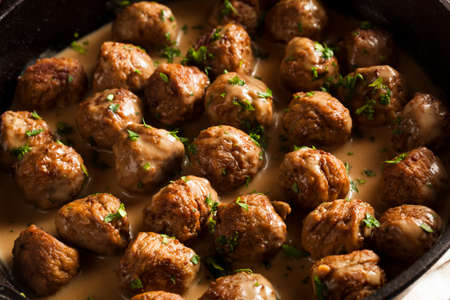 Homemade Swedish Meatballs with Cream Sauce and Parsley