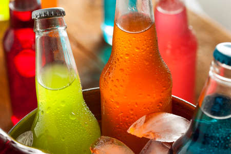 Assorted Organic Craft Sodas with Cane Sugar 스톡 콘텐츠