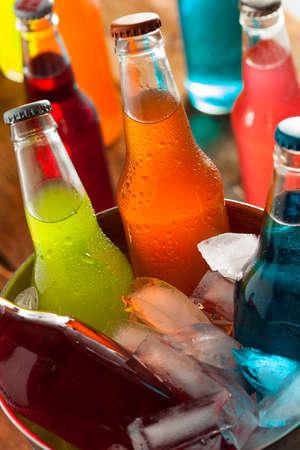 soda bottle: Assorted Organic Craft Sodas with Cane Sugar Stock Photo
