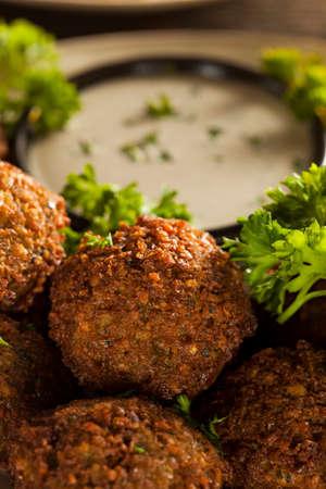 Healthy Vegetarian Falafel Balls with Rice and Salad photo