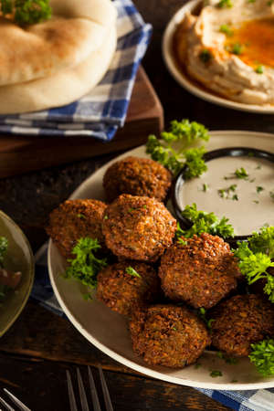 falafel: Healthy Vegetarian Falafel Balls with Rice and Salad Stock Photo