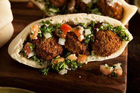 lebanese: Healthy Vegetarian Falafel Pita with Rice and Salad Stock Photo