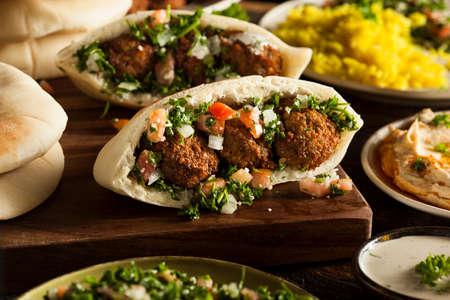 falafel: Healthy Vegetarian Falafel Pita with Rice and Salad Stock Photo