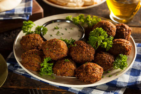 Healthy Vegetarian Falafel Balls with Rice and Salad Stock Photo