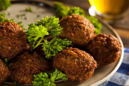 arabian food: Healthy Vegetarian Falafel Balls with Rice and Salad Stock Photo