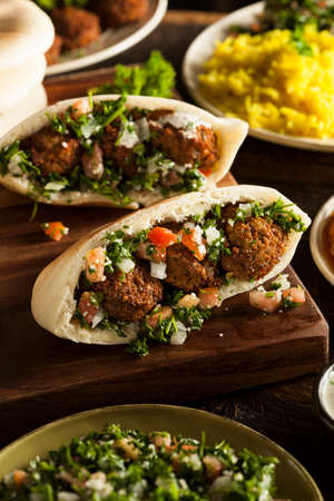 Healthy Vegetarian Falafel Pita with Rice and Salad photo