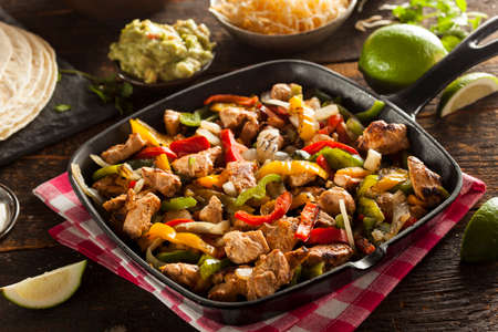 tortillas: Homemade Chicken Fajitas with Vegetables and Tortillas
