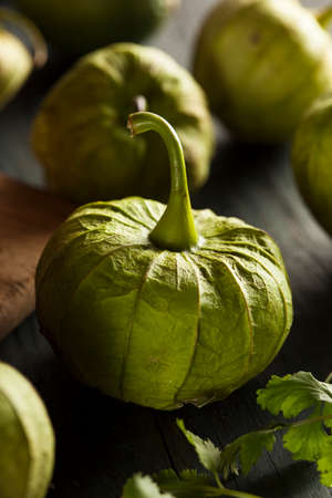 Group of Organic Green Tomatillos on a Background Stock Photo