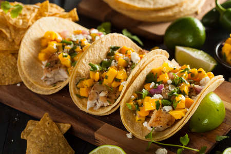 pescado frito: Homemade Baja Tacos de pescado con salsa de mango y patatas fritas Foto de archivo