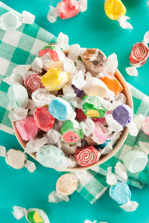 taffy: Assorted Sweet Saltwater Taffy on a Background