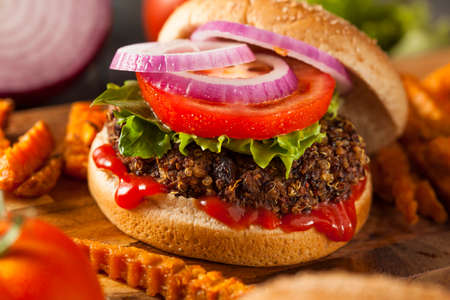 Hausgemachte gesunde vegetarische Quinoa Burger mit Salat und Tomaten Standard-Bild - 28245950