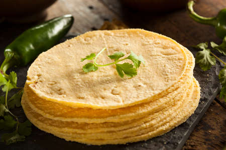 Stack of Homemade Corn Tortillas on a Background Фото со стока - 28246089