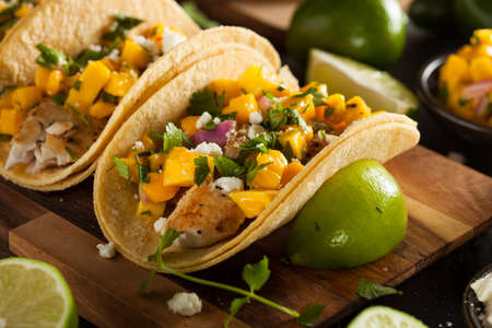 tacos: Homemade Baja Fish Tacos with Mango Salsa and Chips