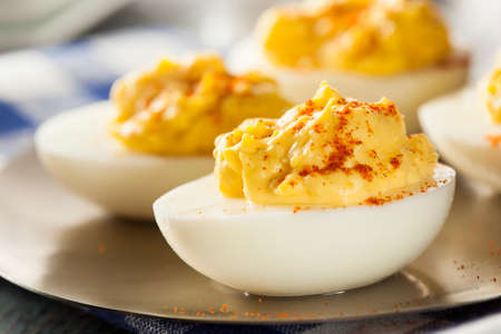deviled eggs: Healthy Deviled Eggs as an Appetizer with Paprika Stock Photo
