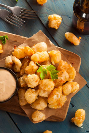 fritter: Beer Battered Wisconsin Cheese Curds with Dipping Sauce