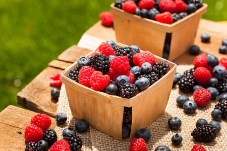 Healthy Organic Ripe Berries with Raspberries Blueberries and Blackberries Reklamní fotografie