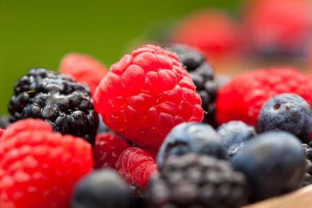 black berry: Healthy Organic Ripe Berries with Raspberries Blueberries and Blackberries Stock Photo