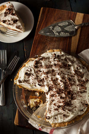 Homemade Black Bottom Cream Pie with Chocolate