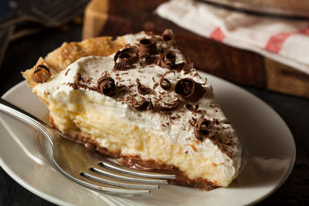 Homemade Black Bottom Cream Pie with Chocolate photo