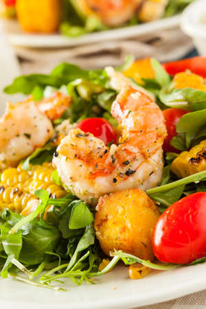 Healthy Shrimp and Arugula Salad with Corn and Tomatoes photo