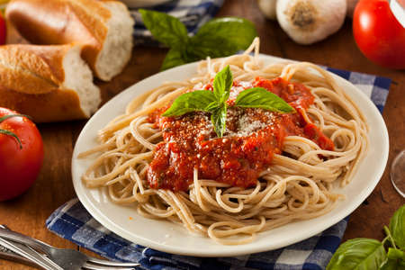 Homemade Spaghetti with Marinara Sauce and Basil photo
