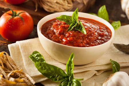 marinara: Homemade Red Italian Marinara Sauce with Basil and Garlic