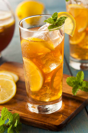 Homemade Iced Tea with Lemons and Mint photo